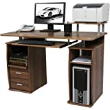 CherryTree Furniture Computer Desk with Cupboard Drawers and Keyboard Tray Desktop PC Table Workstation (Walnut)
