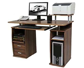 pretty nice 4fe3b d7d97 CherryTree Furniture Computer Desk with Cupboard Drawers and Keyboard Tray  Desktop PC Table Workstation (Walnut)