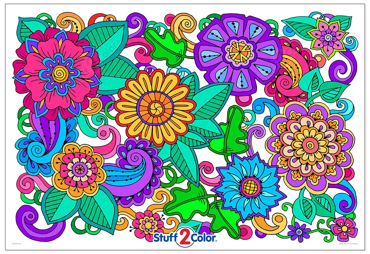 Flower Doodles - Giant Wall Size Coloring Poster - 32.5\