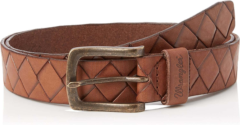 Wrangler Gents Geniune Leather Diamond Pattern Belt in Brown in Size XS to XXXL