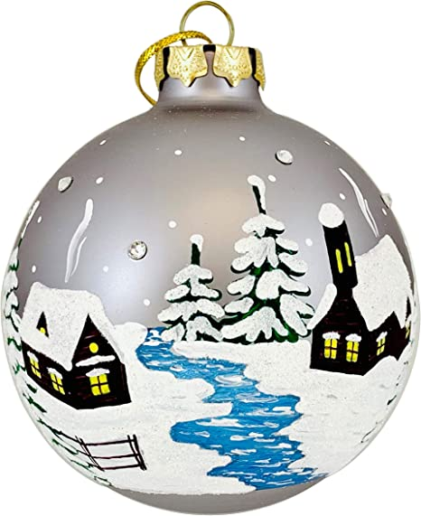 Hand Painted Christmas Glass Ornament Ball With Swarovski Crystals Unique Artist Ball 3 25 Winter Village Home Kitchen