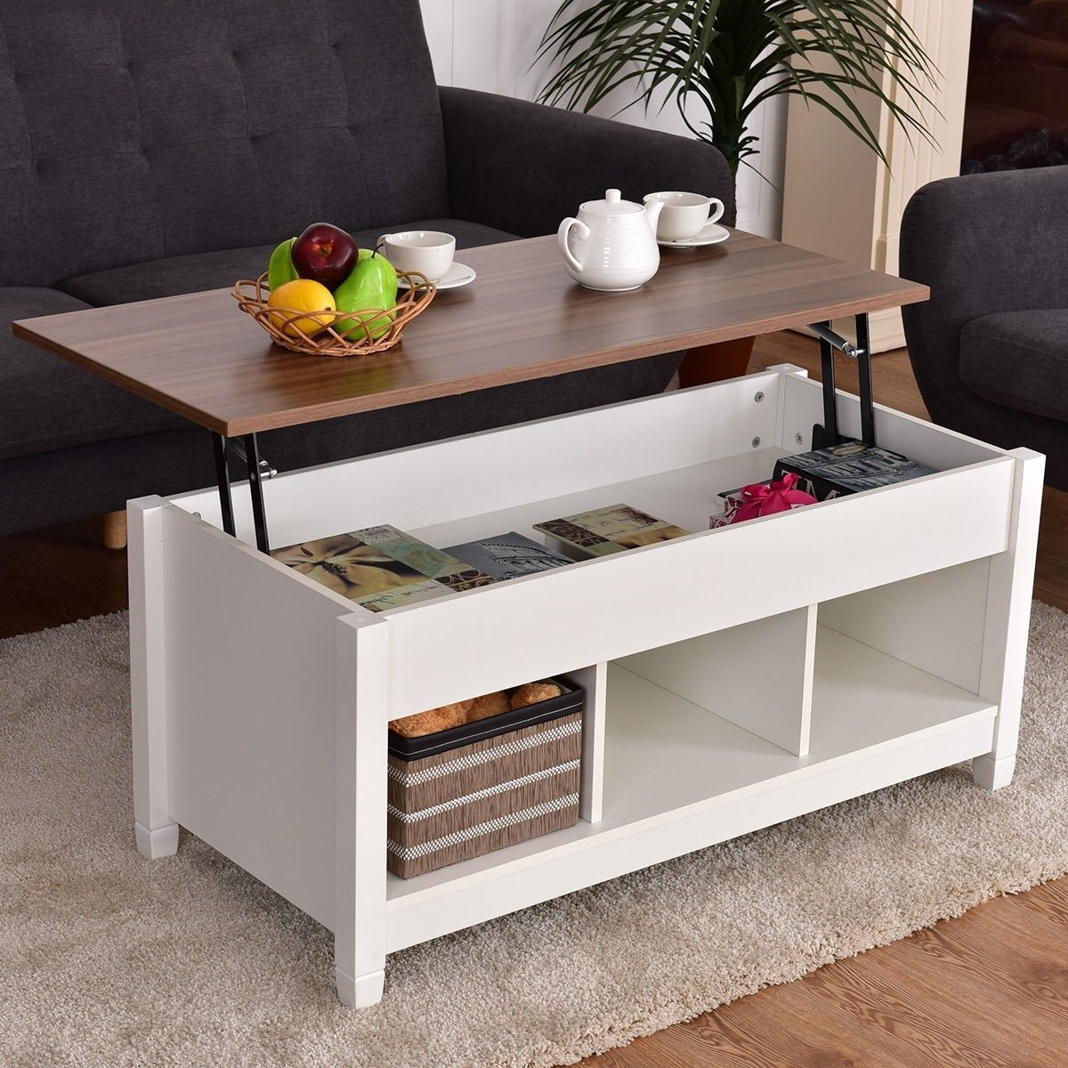Premium Quality Low Coffee Table With Hidden Lift Top and Lower Storage Compartment For Contemporary Home And Living Room (1, White) by Goplus
