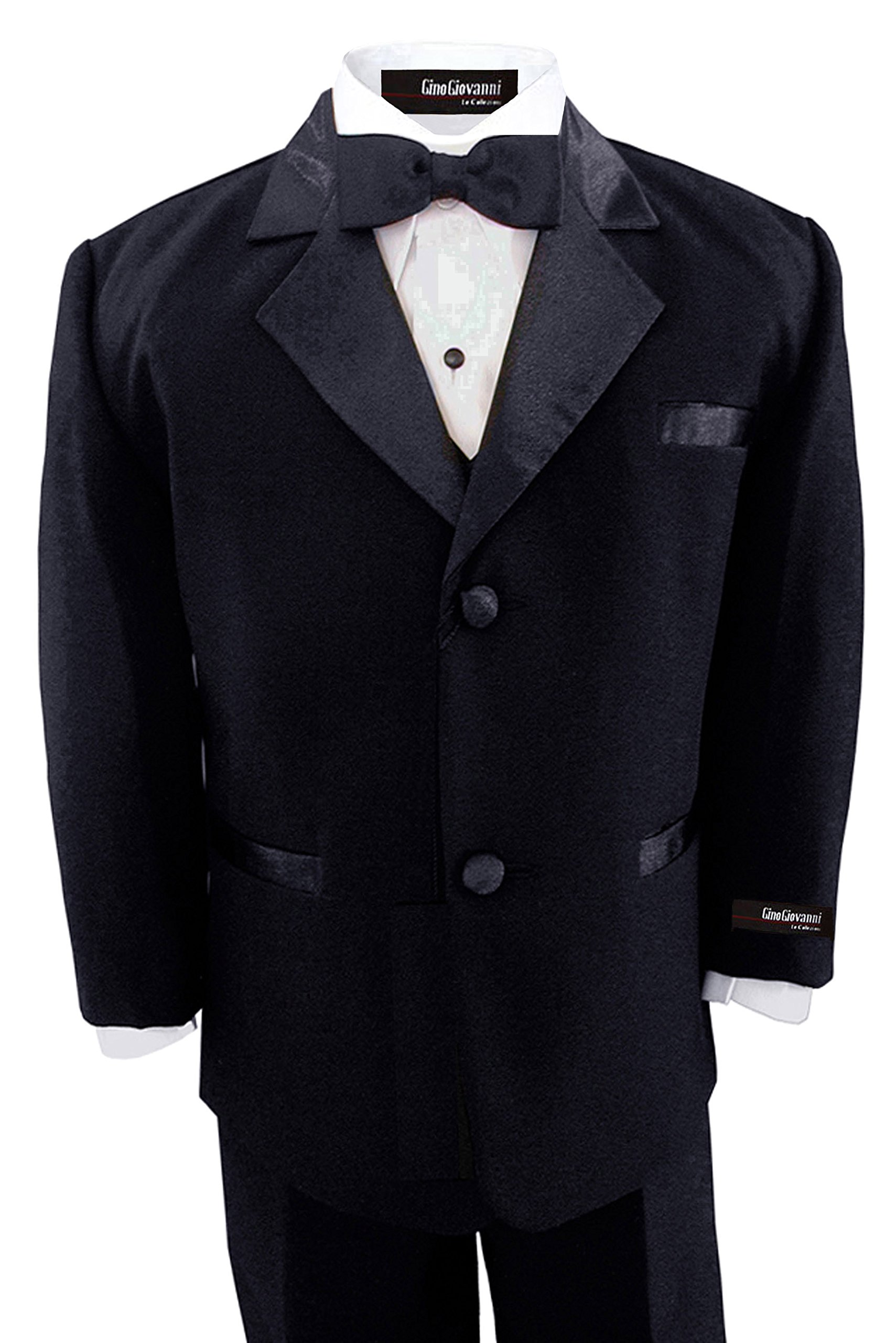 GINO GIOVANNI Brand Boys 5 Piece Deluxe Black Tuxedo Suit Toddler Sizes (Toddler 4T)