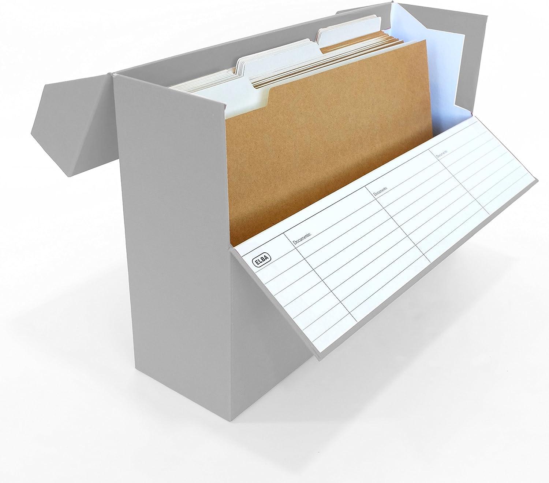 Elba 100580264 - Caja de transferencia de cartón forrado con tela, 10 cm, color gris: Amazon.es: Oficina y papelería