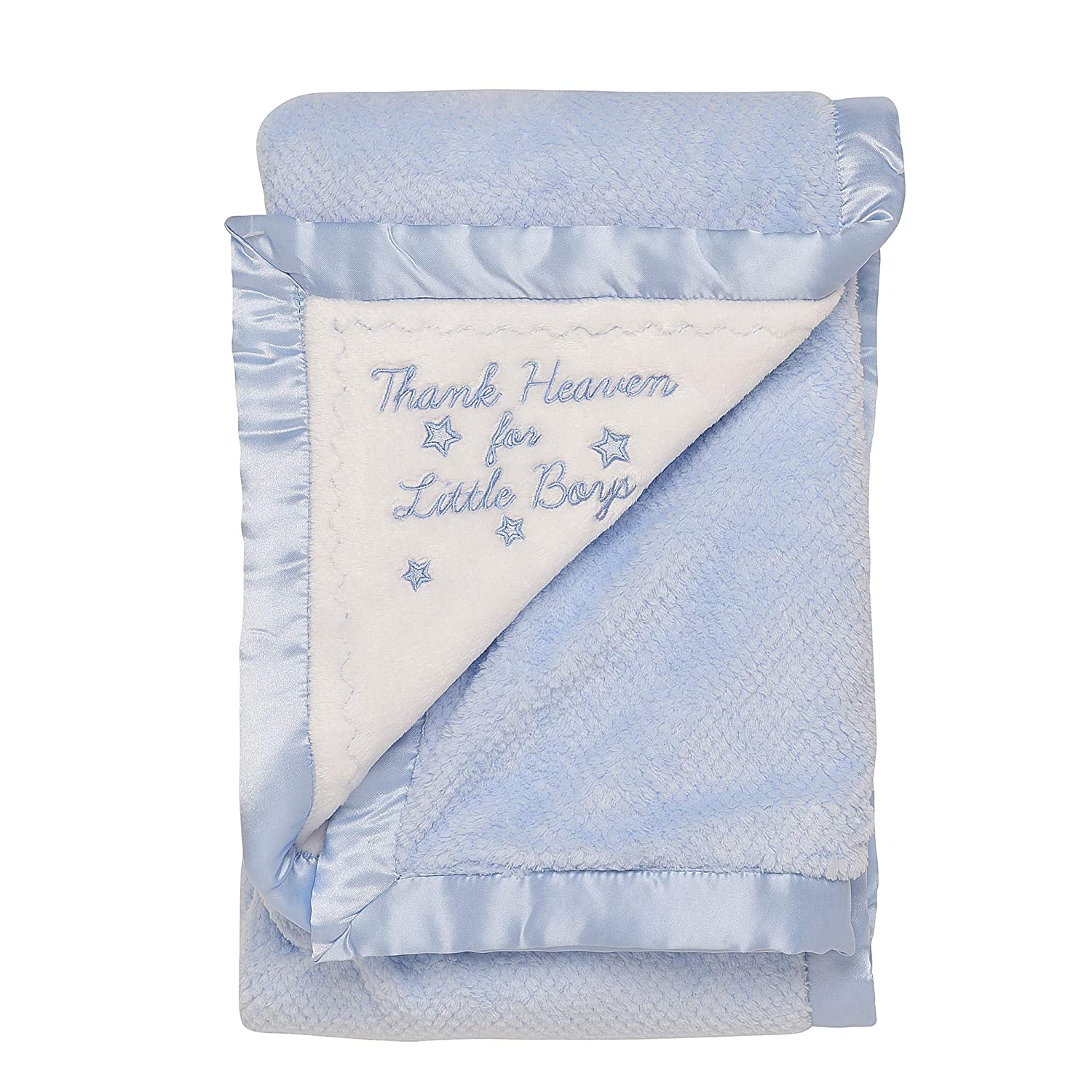 Little Me Thank Heaven for Little Boys 2-Ply Baby Blanket with Satin Binding