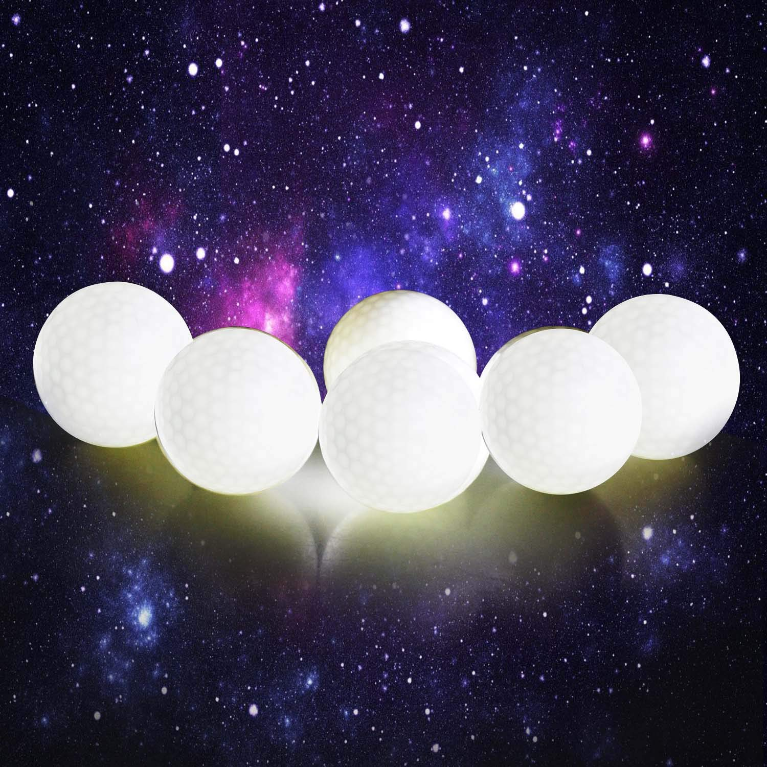 Crestgolf Flashing Glowing Golf Ball,Night Glow Flash Light up LED Golf Ball (6 Pack),six Color for Your Choice (White) by Crestgolf