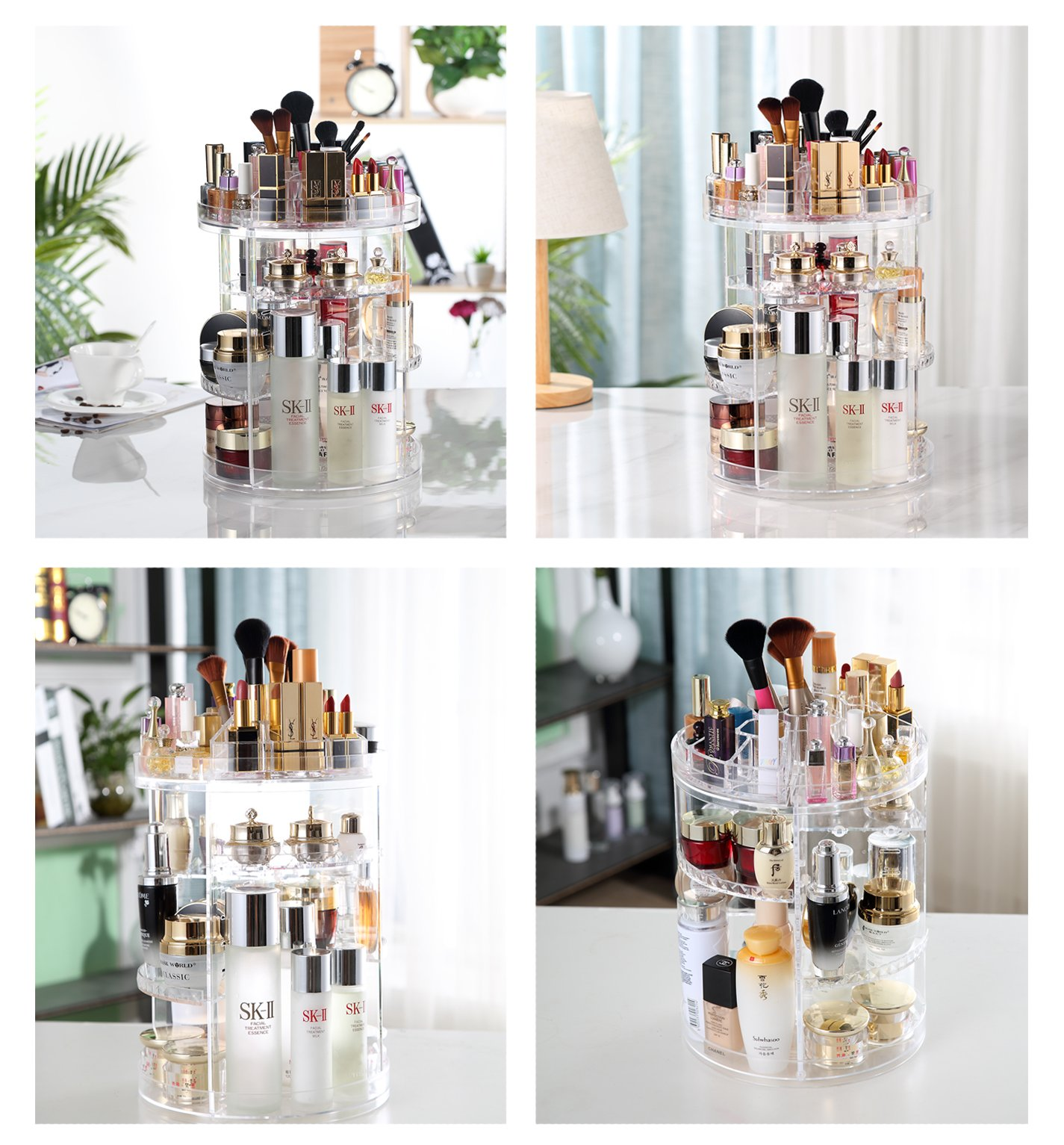 Adjustable 360° Rotating Makeup Organizer Holder, Transparent Spinning Cosmetic Storage Tower With Large Capacity for Bathroom Tray / Bedroom Dresser by Boxalls