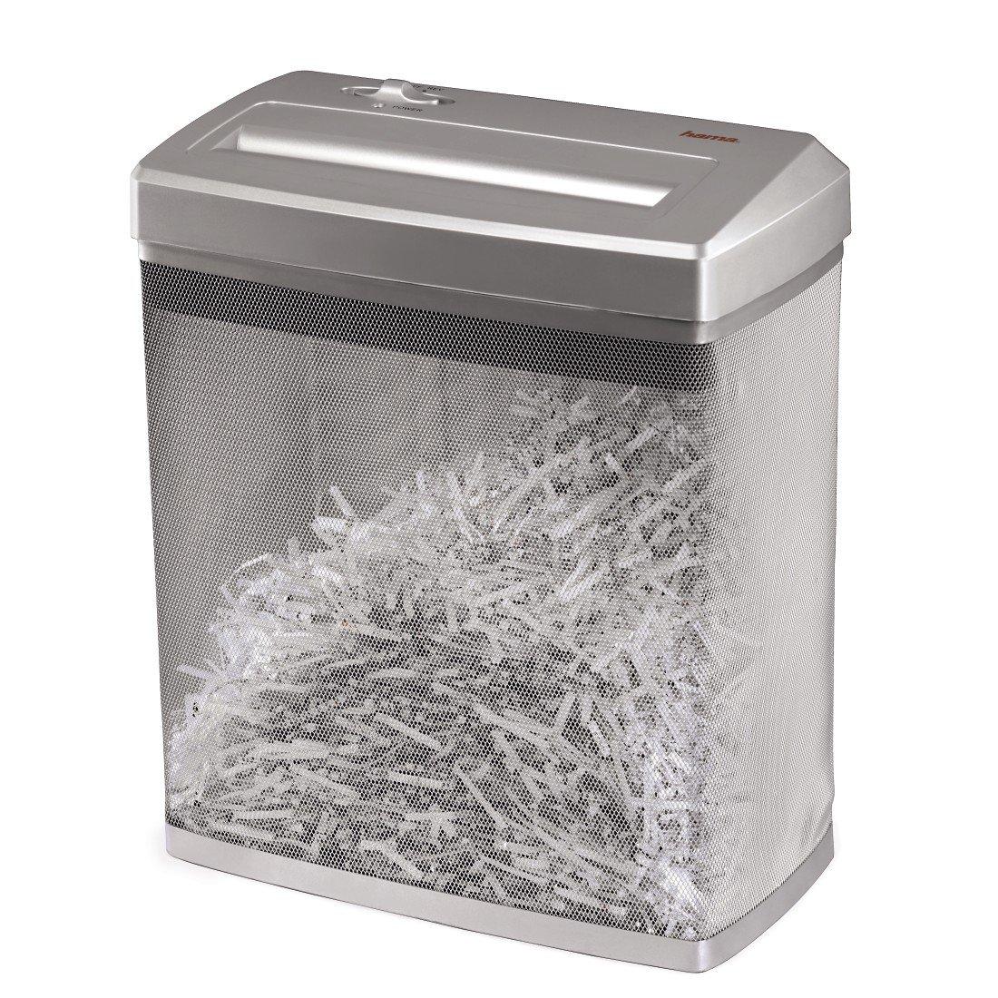 Hama Aktenvernichter bis zu 7 Blatt (Kreuzschnitt, Shredder für Papier und Plastikkarten, inkl. 14-Liter-Metallkorb, Schutzklasse P-4/Sicherheitsstufe 2 nach DIN 66399) Papier-Schredder silber 50176 Computerzubehör
