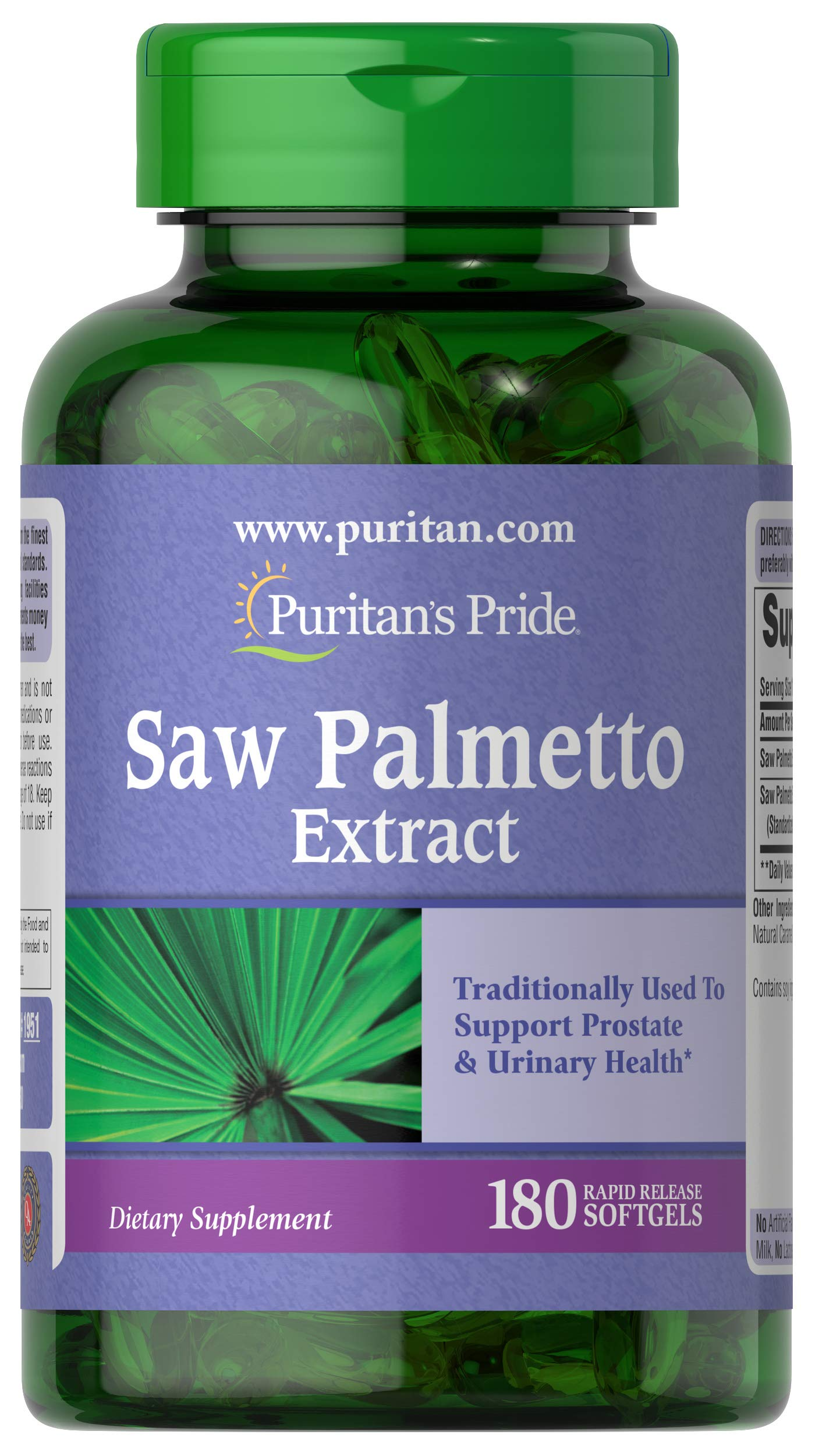 Puritan's Pride Saw Palmetto Extract, 180 Softgels (Packaging May Vary)