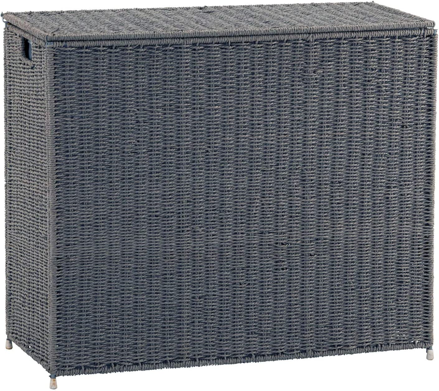 Household Essentials Grey ML-7245 Wicker 3 Compartment Laundry Sorter with Lid | 3 Section Clothes Hamper