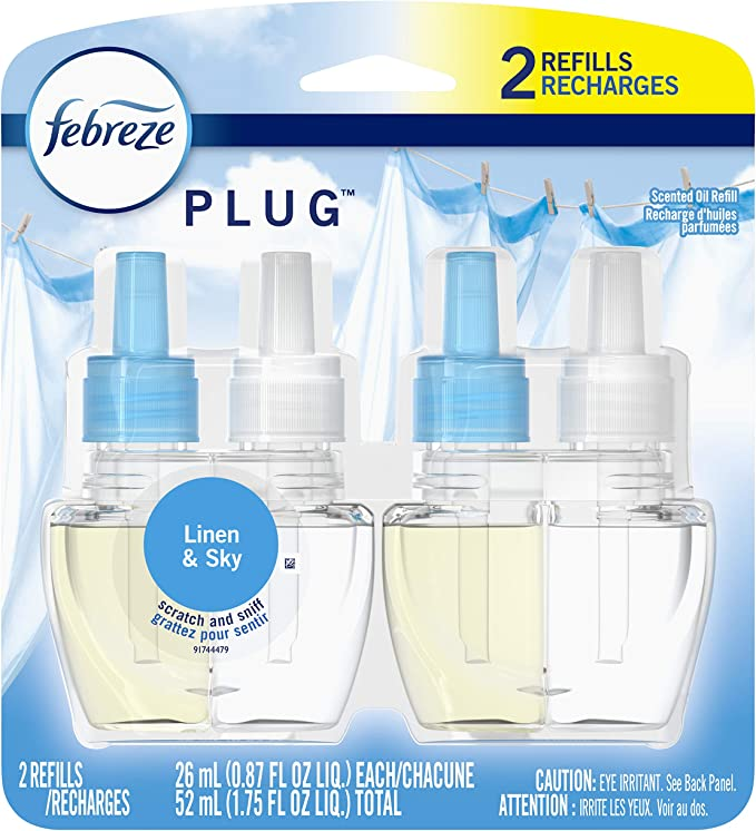 Febreze Plug In, Air Freshener, Scented Oil Refill, Linen & Sky, 2 Count