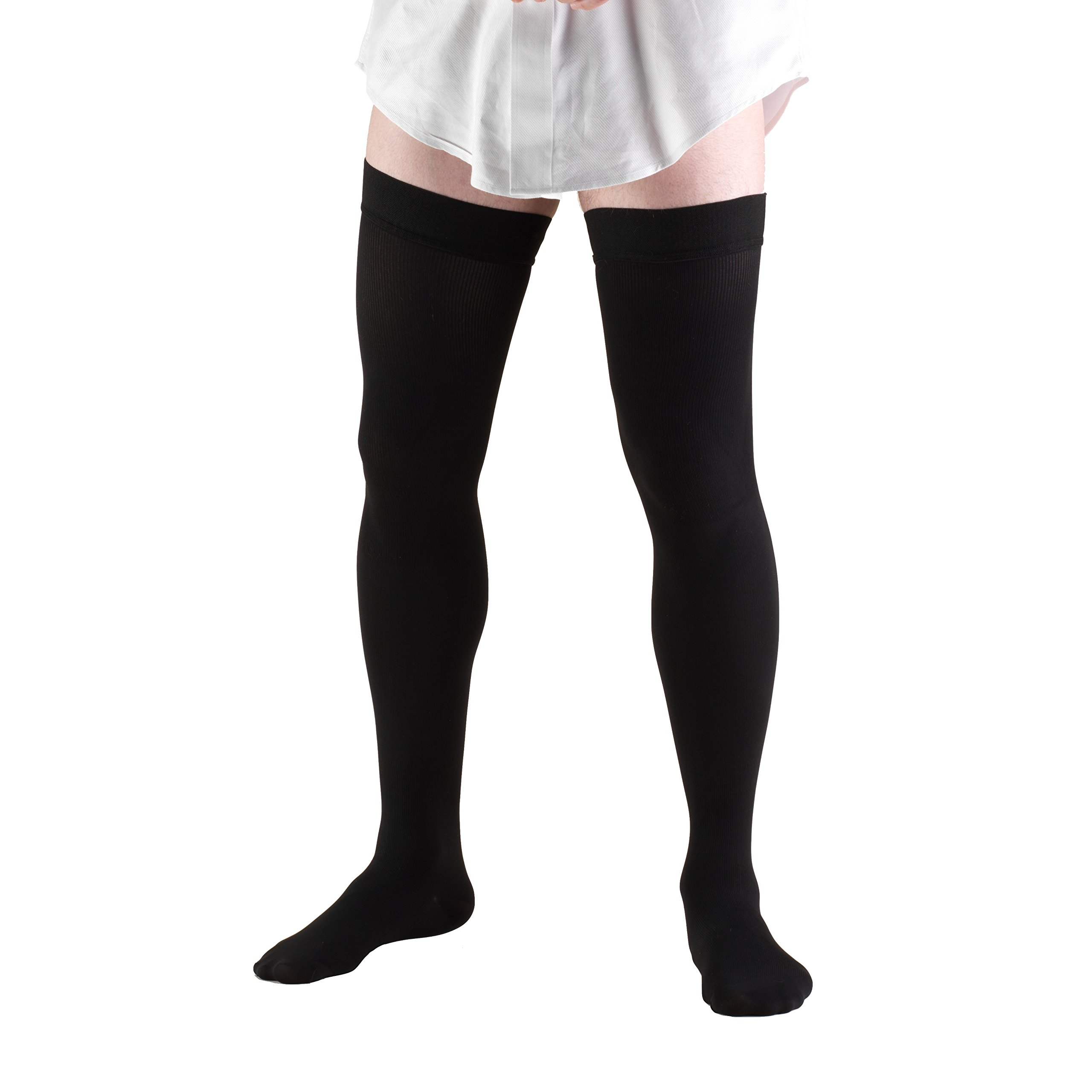 Truform Compression Socks, 20-30 mmHg, Mens Dress Socks, Thigh High Over