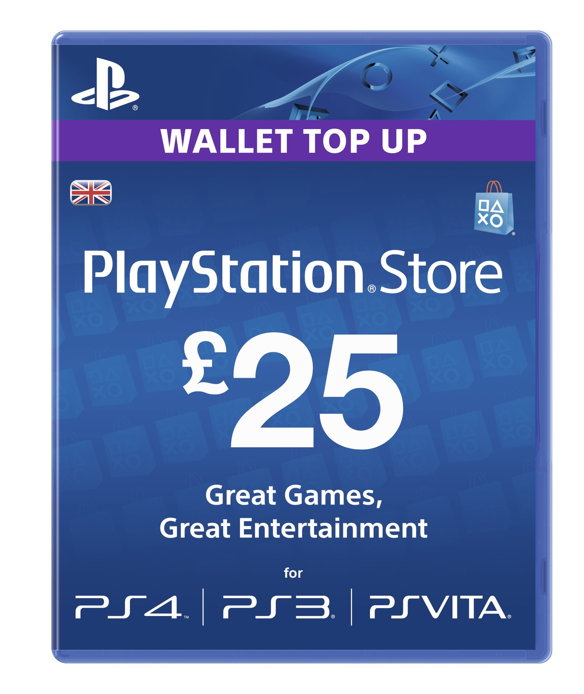 Playstation Network Card PSN £ 25 UK PS3 & PS Vita & PS4