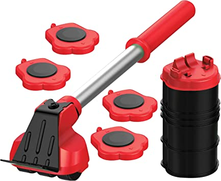 1 Lifting Rod and 4 Furniture Moving Rollers Couches and Refrigerators YISHENG-D Suitable for Sofas YISHENG-D 360/° Furniture Lifter Mover Tool Set