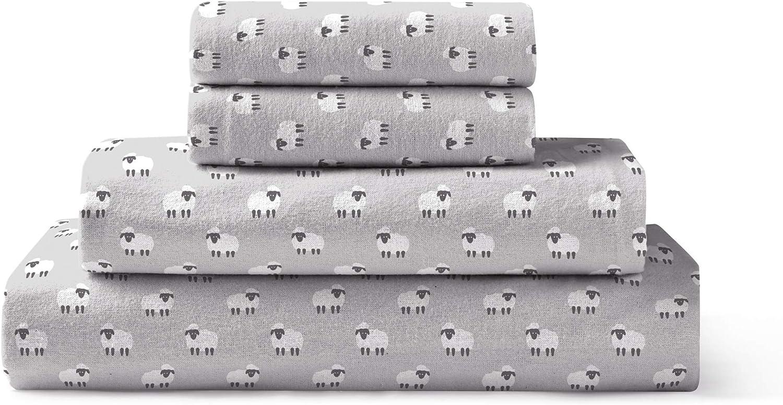 Brielle 100-Percent Cotton Flannel Sheet Set, Queen, Sheep Light Grey