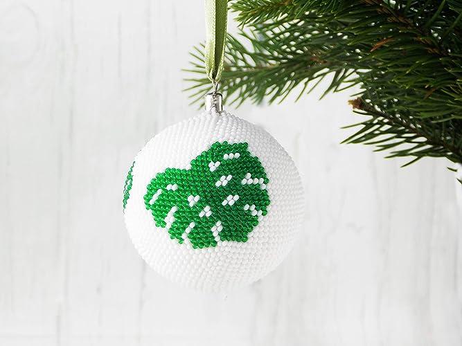handmade green leaf monstera christmas ornament tropical xmas tree decorations - Amazon Christmas Tree Decorations