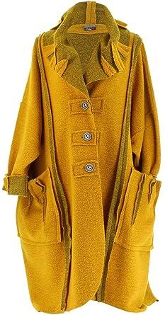 officiel de vente chaude acheter populaire styles de variété de 2019 Charleselie94® - Manteau Long Hiver Laine Bouillie Grande Taille Femme  Moutarde Karla Jaune