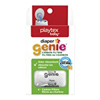 Diaper Genie Playtex Carbon Filter Refill Tray for Diaper Pails, 4 Carbon Filters