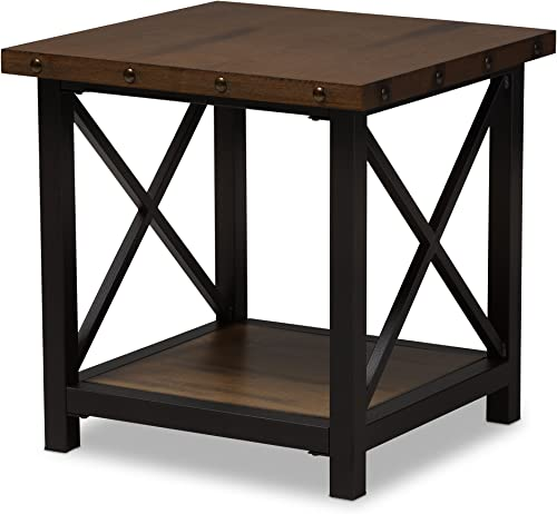 Baxton Studio Reine Rustic Industrial Style Antique Black Textured Finished Metal Distressed Wood Occasional End Table