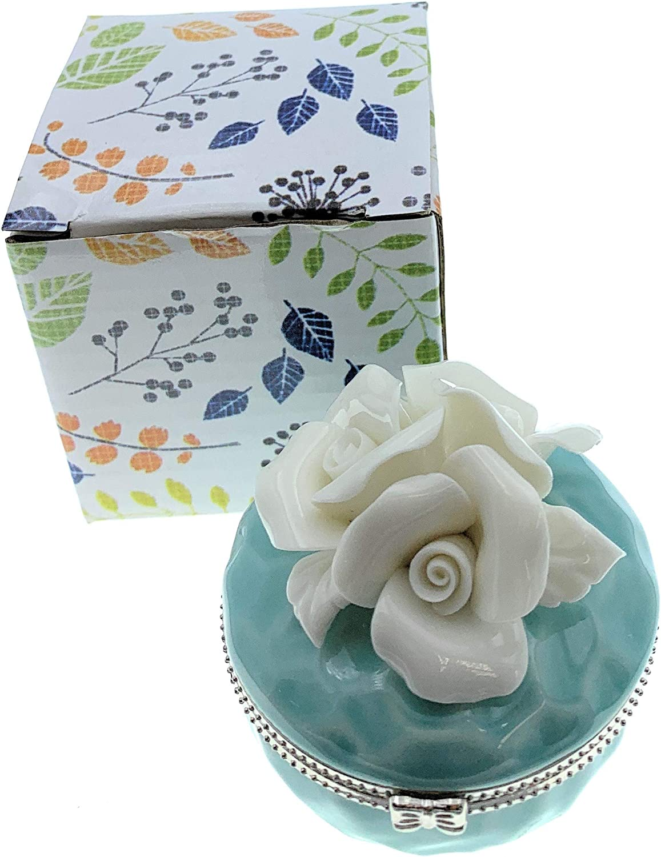 2.5 Inches Diameter Value Arts Porcelain White Roses On Aqua Blue Trinket Box