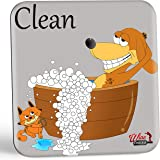 Dishwasher Magnet Clean/Dirty Dishwasher Sign- The Dish Doggy Fun & Stylish Clean Dirty Dishwasher Indicator Gift with 2 Different Fun Sides for Dog Lovers to Eliminate Wasteful Dish Mix-Ups