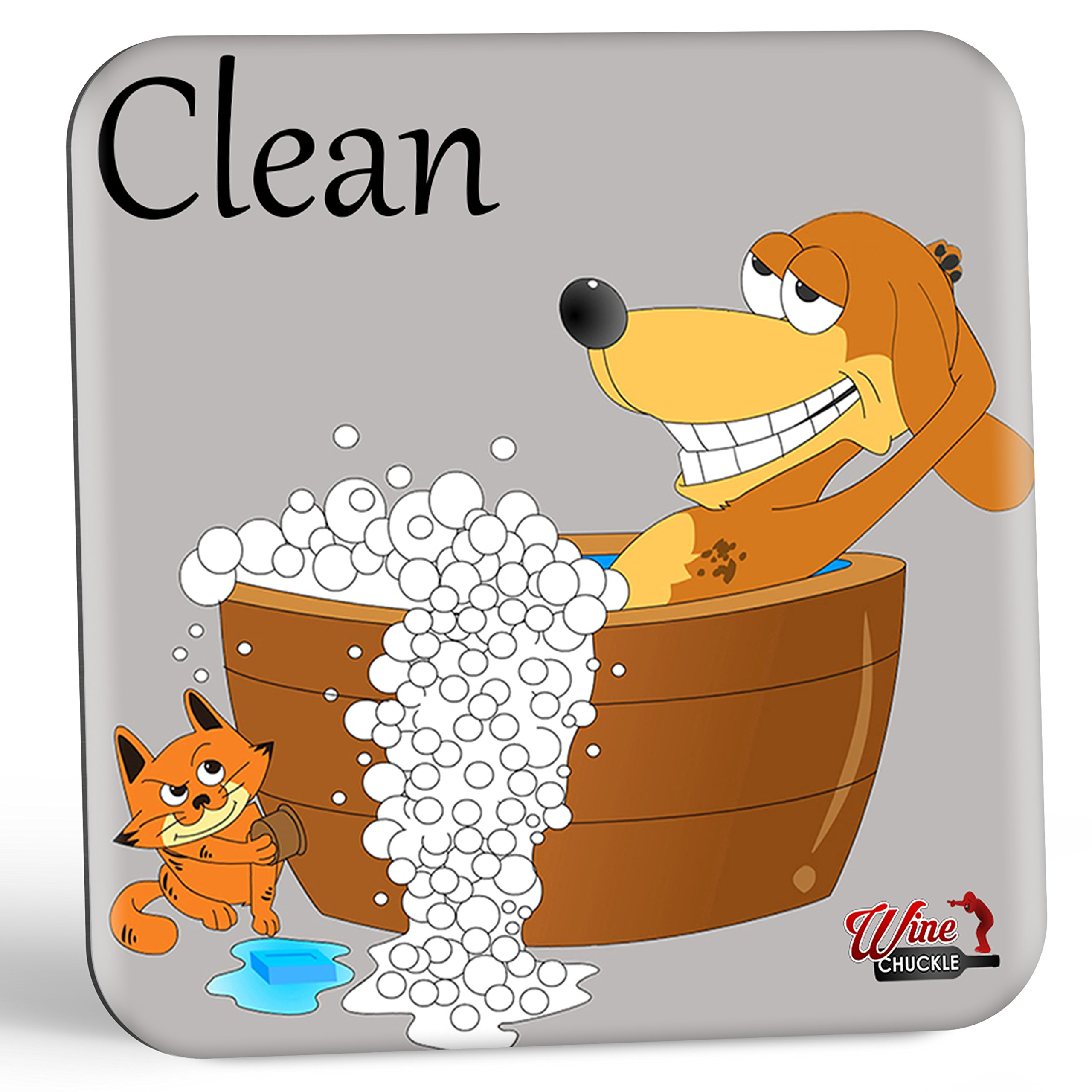 Dish Doggy Clean Dirty Dishwasher Magnet Sign - A Fun & Stylish Clean Dirty Dishwasher Sign Gift with 2 Different Fun Sides for Dog Lovers to End Wasteful Dish Mix-ups Forever