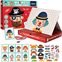 MiDeer Magnetic Jigsaw Puzzles,56Pcs Funny Face Puzzle Board with Drawers Portable Imagination Magnets Magnetic Toys…