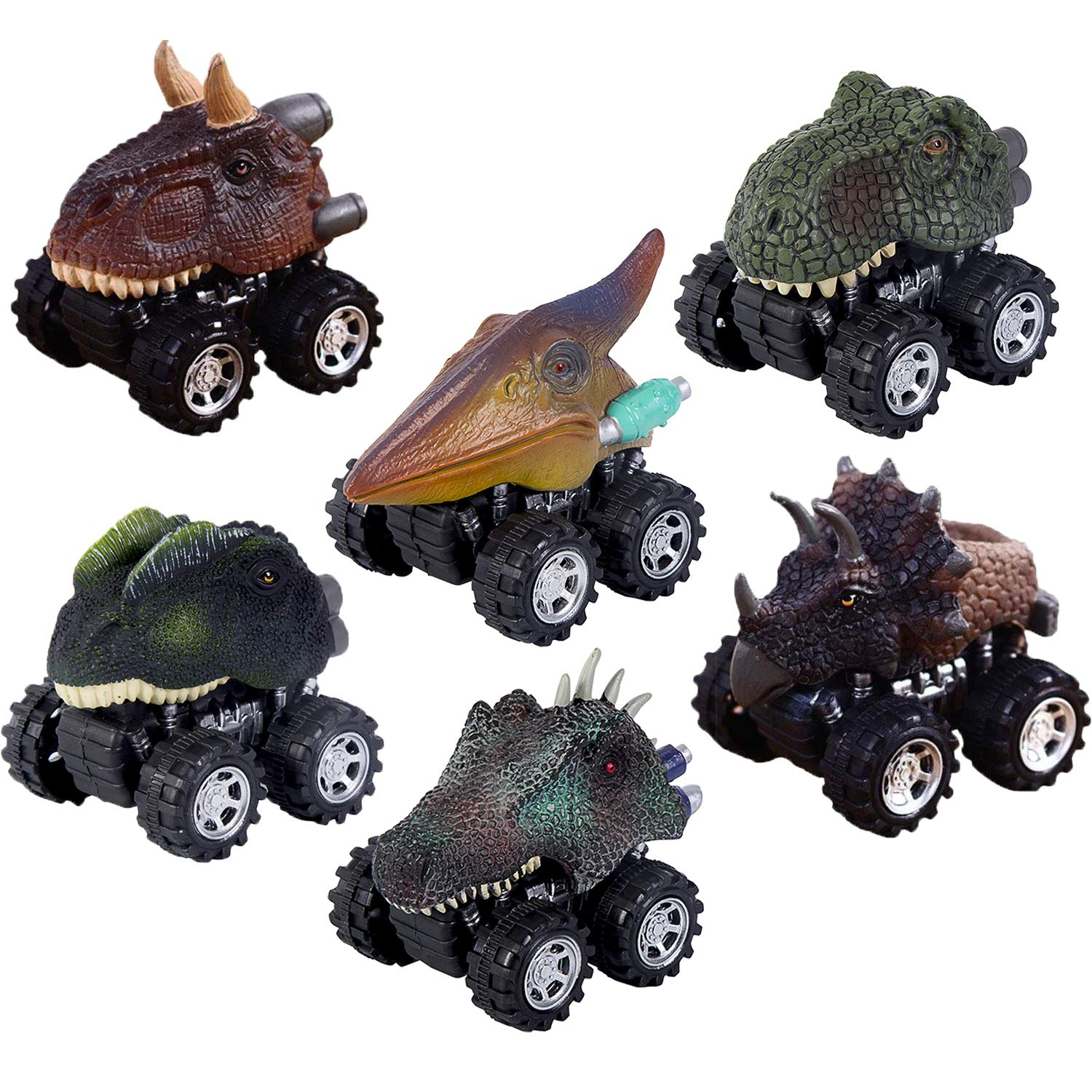 Oiuros Pull Back Dinosaur Cars, Dinosaur Cars Toys with Big Tire Wheel for 3-14 Year Old Boys Girls Creative Gifts by, 6-Pack