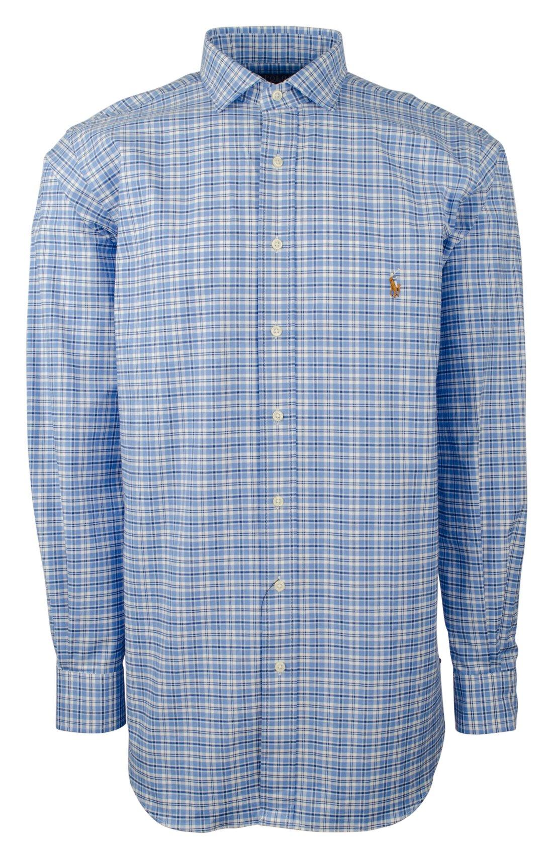 RALPH LAUREN Polo Men's Big & Tall Stretch Pinpoint Oxford Shirt-AN-Lt