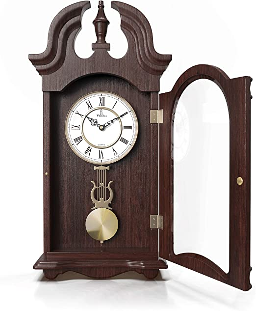 Office 23.5 x 9.25 inches Lovely Home Battery Operated Stylish Dark Wooden Design Silent Decorative Wood Clock With Swinging Pendulum Best Pendulum Wall Clock Kitchen Bathroom /& Home D/écor For Living Room