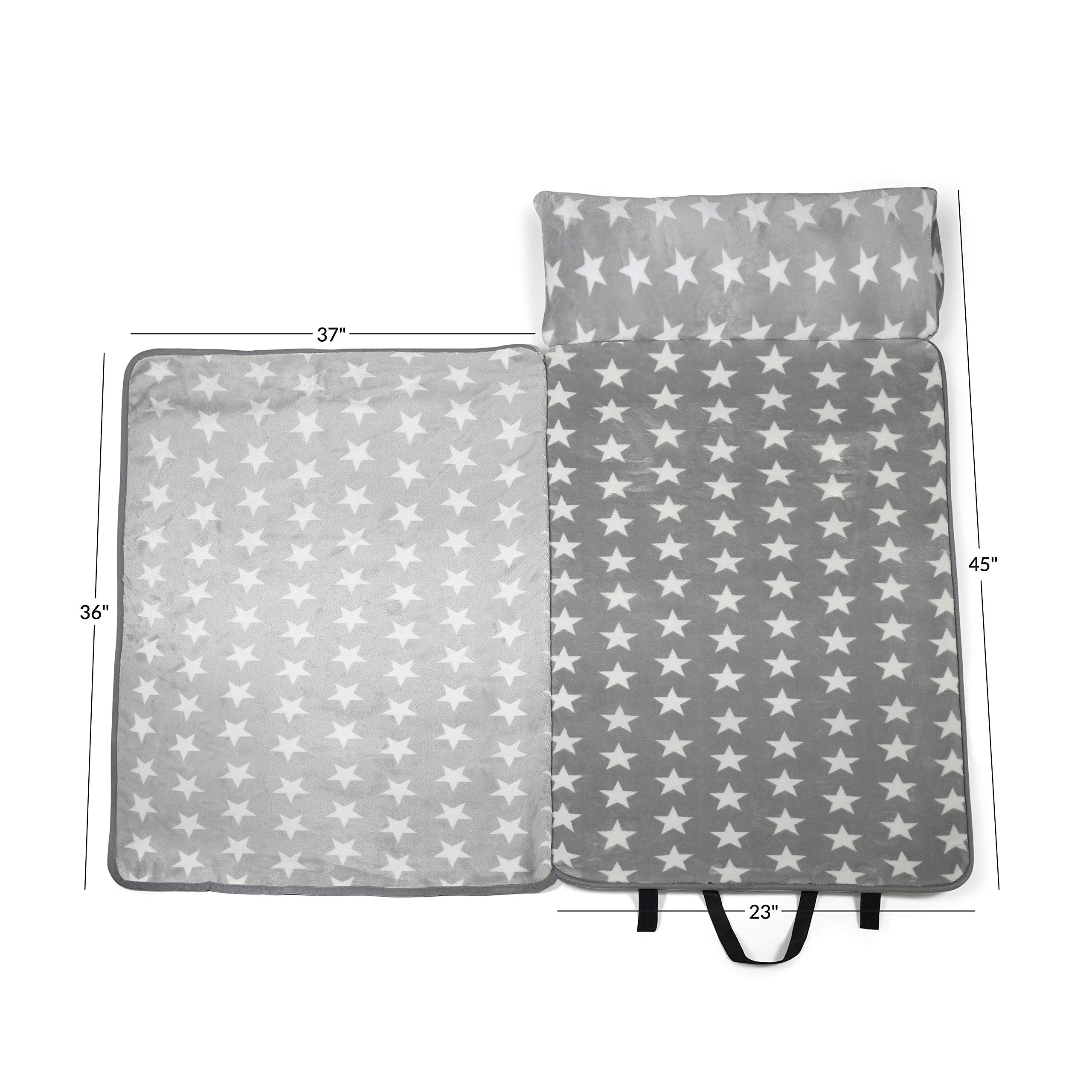 Milliard -Memory Foam- Nap Mat Roll Stars with Fuzzy Blanket and Removable Pillow, Machine Washing for Toddler Daycare Preschool Kindergarten and Sleepovers by Milliard (Image #4)