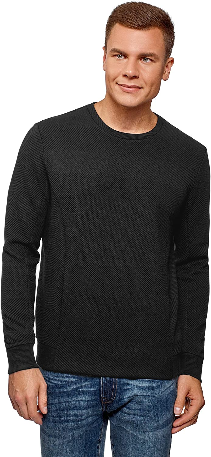 oodji Ultra Mens Straight-Fit Crew Neck Pullover