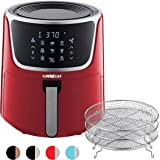 GoWISE USA GW22957 7-Quart Electric Air Fryer with Dehydrator & 3 Stackable Racks, Digital Touchscreen with 8 Functions + Recipes, 7.0-Qt, Red/Silver