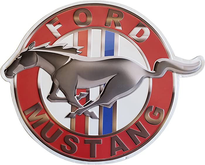 Vintage Ford Mustang Logo Shaped & Embossed Metal Wall Decor Sign, Heavy Gauge .35mm Iron, Sawtooth Hanger On Back for Displaying,