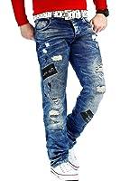 RedBridge Herren Freizeit Jeans Aussergewöhnliche Hose Casual Clubwear Destroyed Streetwear Designer Zerrissen Denim