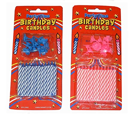 24 X Packs Birthday Cake Candles Holders Per Card Wholesale Bulk Buy Amazoncouk Kitchen Home