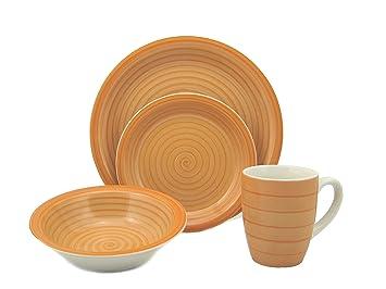 Lorren Home Trends 16-Piece Stoneware Dinnerware Set Orange  sc 1 st  Amazon.com & Amazon.com | Lorren Home Trends 16-Piece Stoneware Dinnerware Set ...