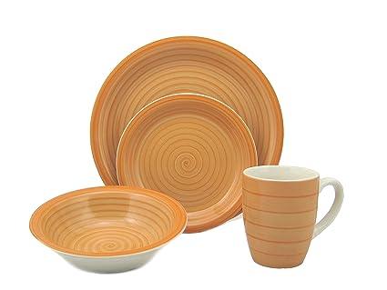 Lorren Home Trends 16-Piece Stoneware Dinnerware Set Orange  sc 1 st  Amazon.com & Amazon.com   Lorren Home Trends 16-Piece Stoneware Dinnerware Set ...