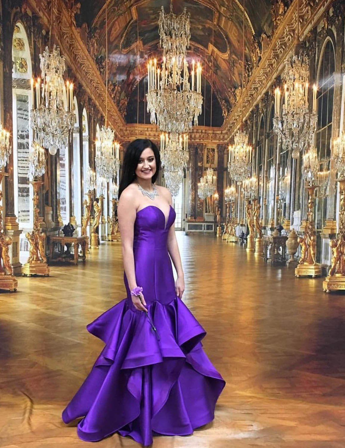2019 Strapless Prom Dress Plus Size Empire Waist Mermaid Satin Formal Party  Gowns Homecoming Dresses for Girls Graduation Simple Ball Gown YW11 Purple  ...