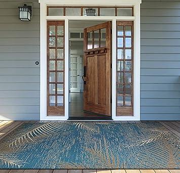Amazon Com Couristan Monaco Tropical Palms Indoor Outdoor Area Rug 2 3 X 7 10 Runner Ocean Furniture Decor