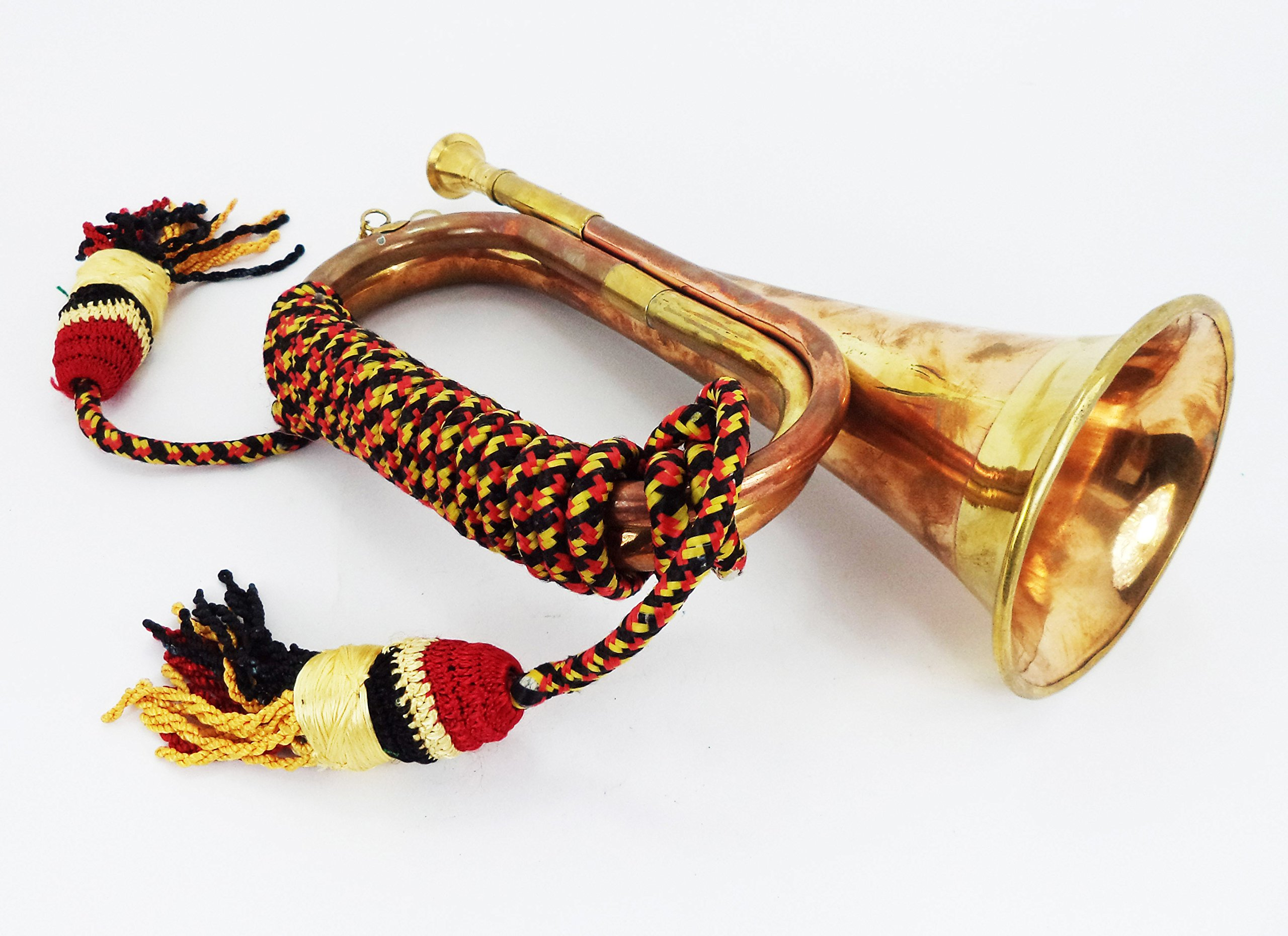 Boy Scout Brass and Copper Blowing Bugle Attack War Command Signal Horn 10.6'' Inch with Beautiful Colourful Rope Binding