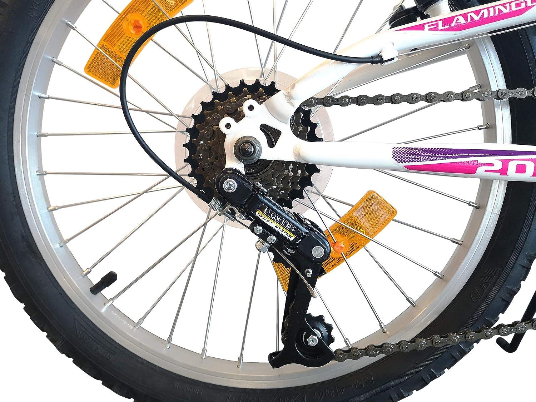20 Zoll Wei/ß und Fuchsia Mountainbike 6 G/änge pro Drehgriff Flamingo Actimover M/ädchen-Fahrrad mit Teleskopgabel vollgefedert