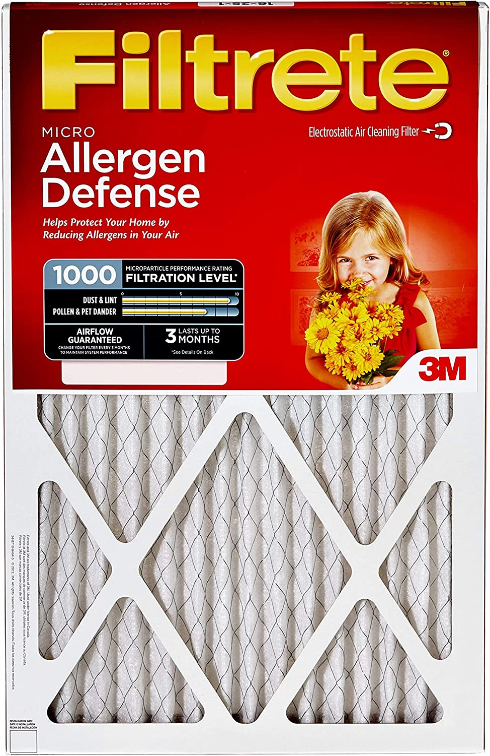Filtrete 20x25x1, AC Furnace Air Filter, MPR 1000, Micro Allergen Defense, 4-Pack