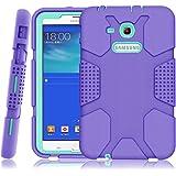 Samsung Galaxy Tab E Lite 7.0 Case, Galaxy Tab 3 Lite 7.0 Case, Hocase Rugged Heavy Duty Kids Proof Protective Case for SM-T110 / SM-T111 / SM-T113 / SM-T116 - Purple / Mint Green