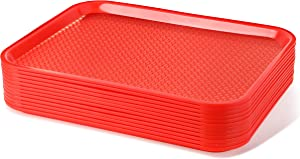 New Star Foodservice 24845 Red Plastic Fast Food Tray, 14 by 18-Inch, Set of 12