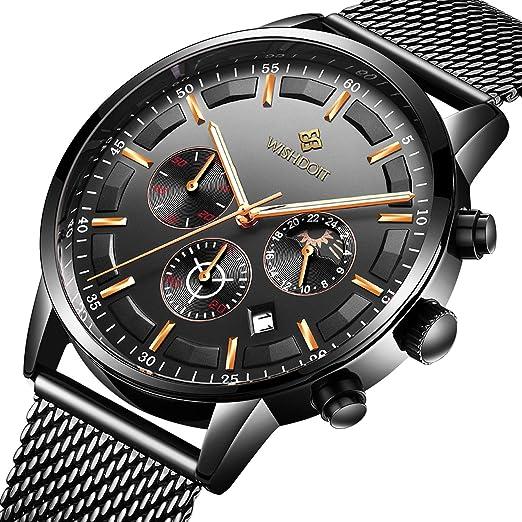 Relojes para Hombre Moda Impermeable Deportes Cronógrafo Analógico Cuarzo Reloj de Pulsera Negro Dial Calendario Hombres Negocios Casual Lujo Relojes de ...