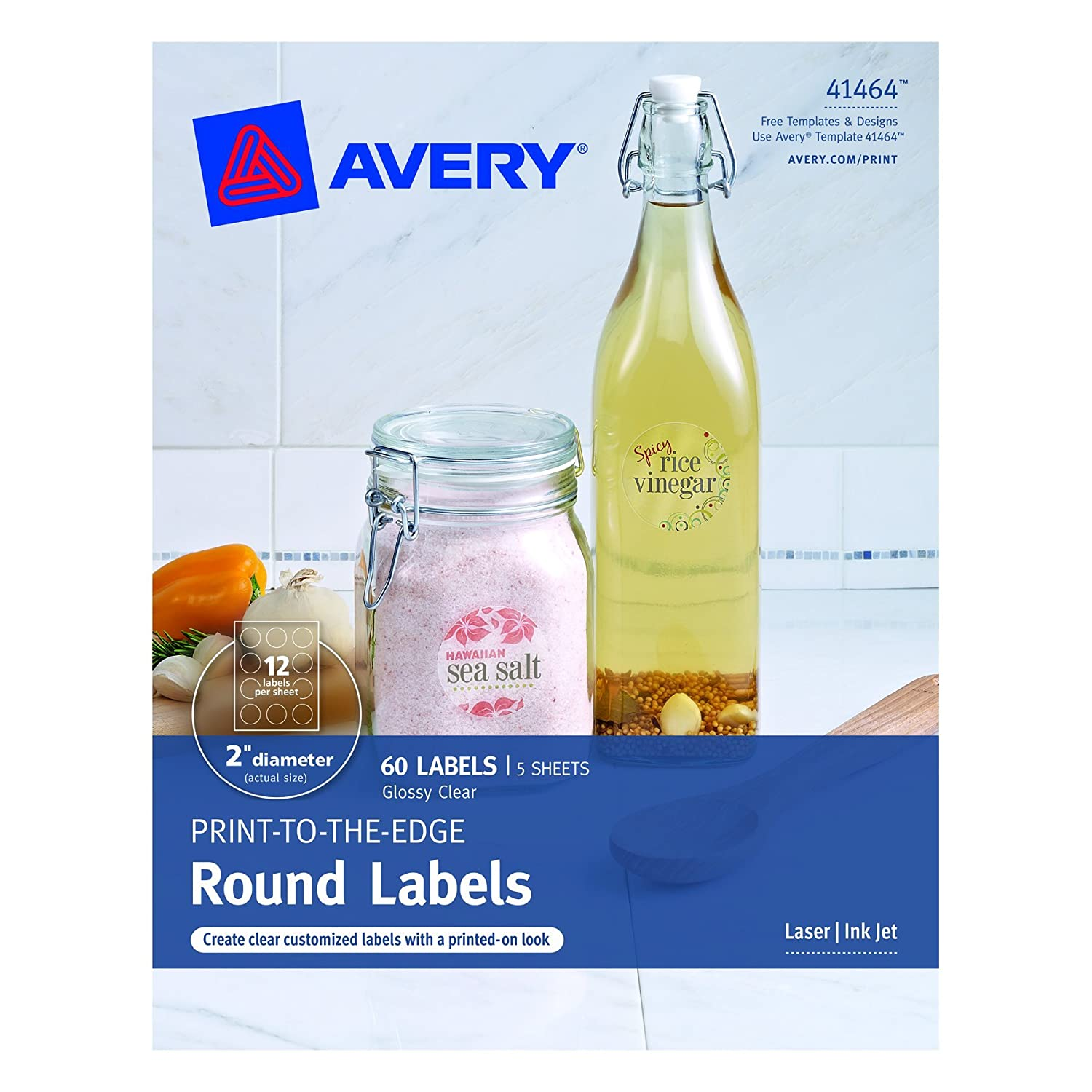 Avery Print - To - The Edge Round Labels, Glossy Clear, 2-Inch ...