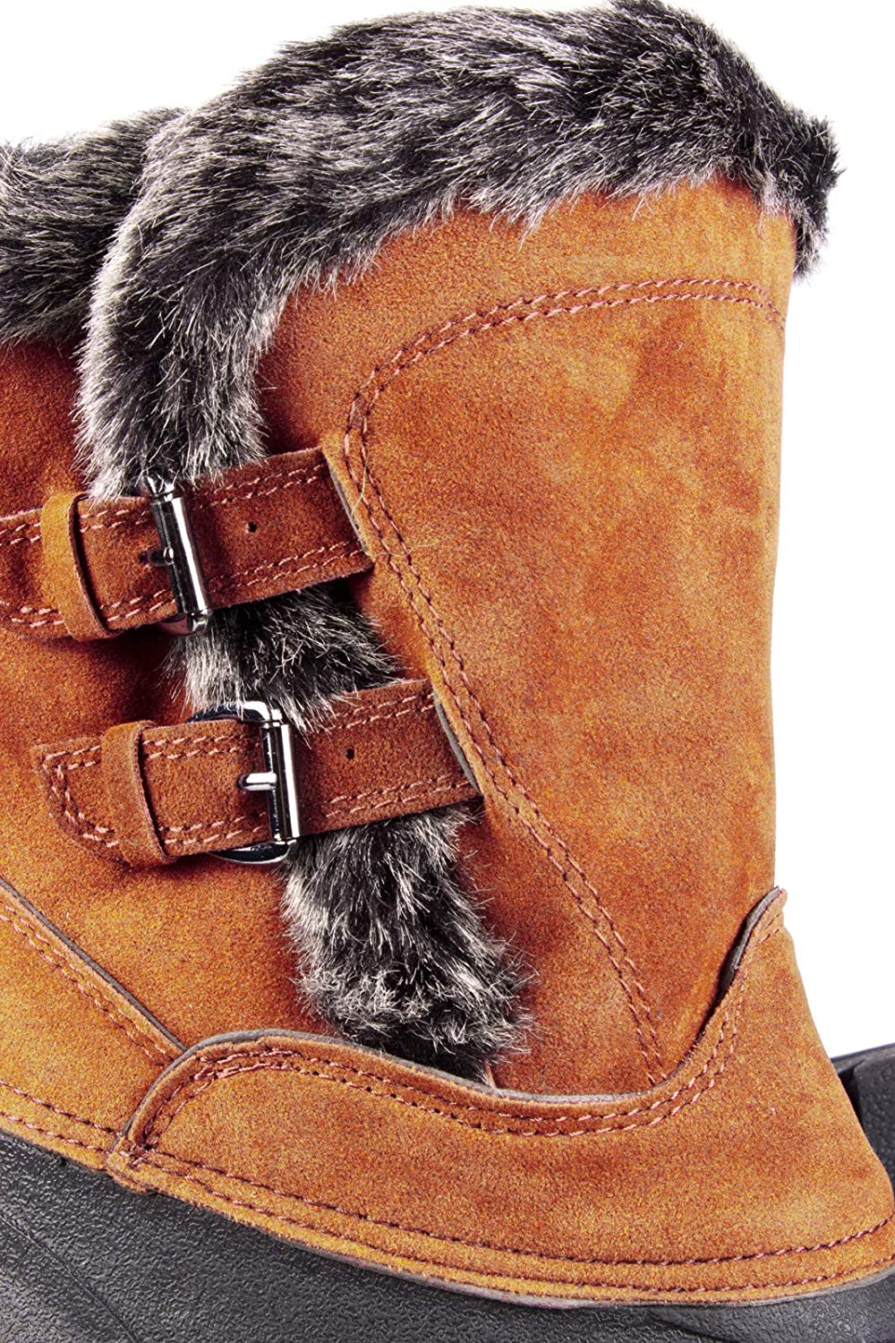 Riding Dog Walking Equestrian Ladies Buckled Short Faux Fur Lined Mucker Yard Stable Boot