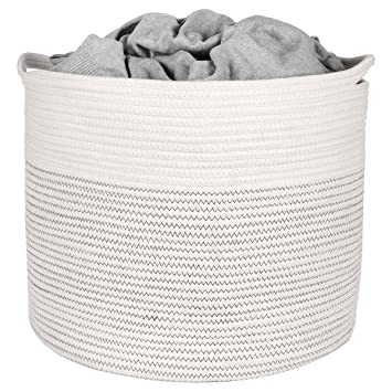 Amazon Com Extra Large Storage Basket Cotton Rope Storage Baskets