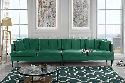 Amazoncom Mid Century Extra Large Velvet Sofa Living Room Couch